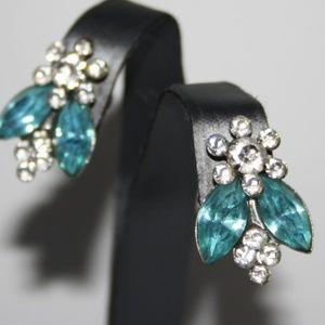 Silver and blue rhinestone vintage earrings